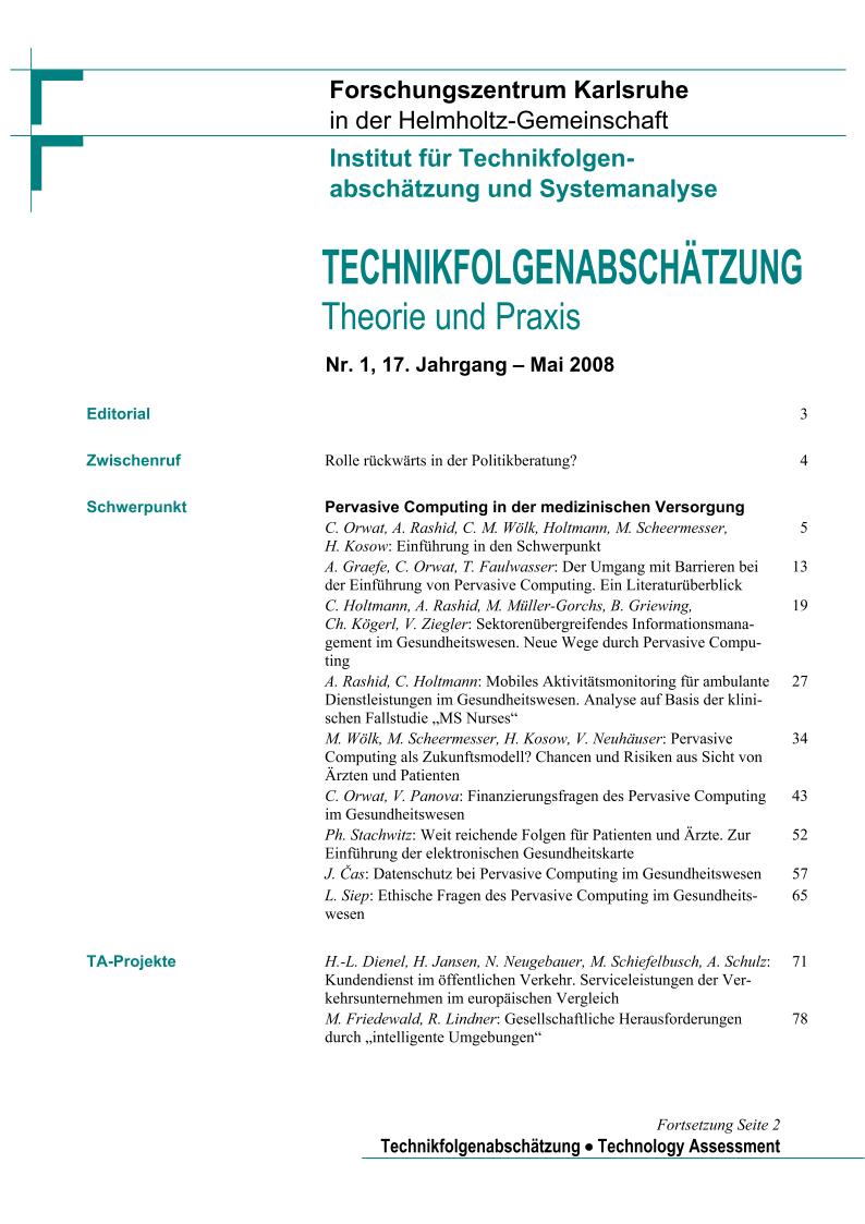 View Vol. 17 No. 1 (2008): Pervasive Computing in der medizinischen Versorgung