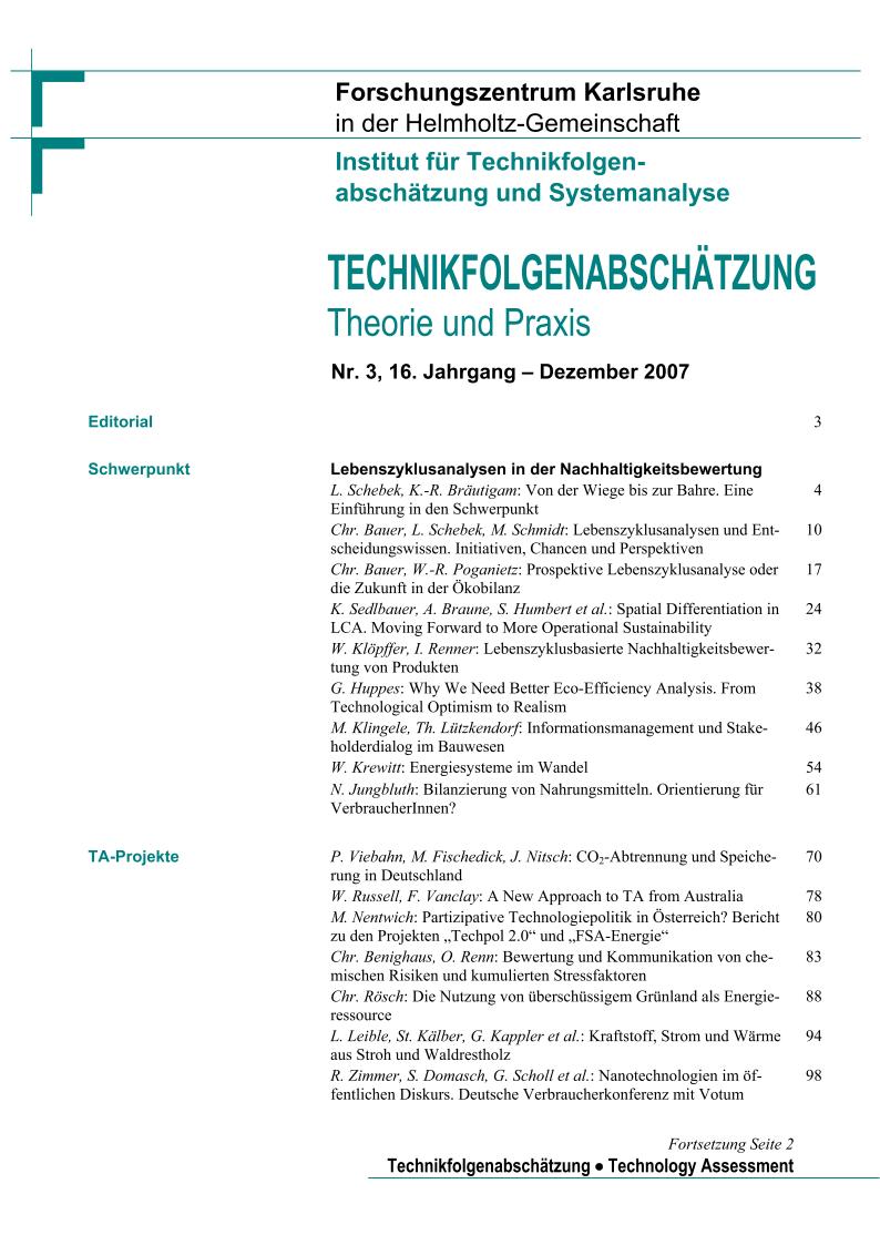 View Vol. 16 No. 3 (2007): Lebenszyklusanalysen in der Nachhaltigkeitsbewertung