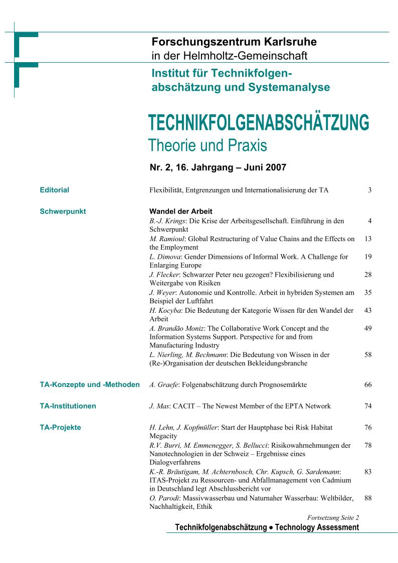 View Vol. 16 No. 2 (2007): Wandel der Arbeit