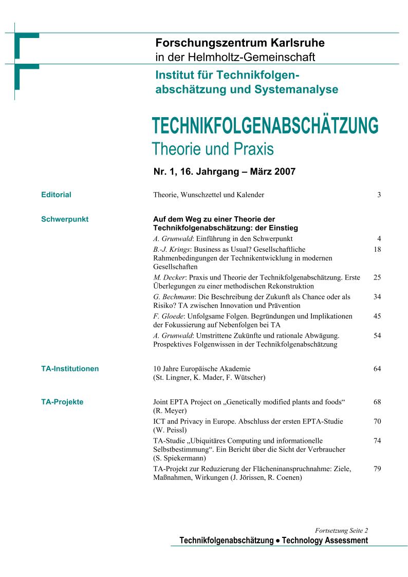 View Vol. 16 No. 1 (2007): Auf dem Weg zu einer Theorie der Technikfolgenabschätzung - der Einstieg