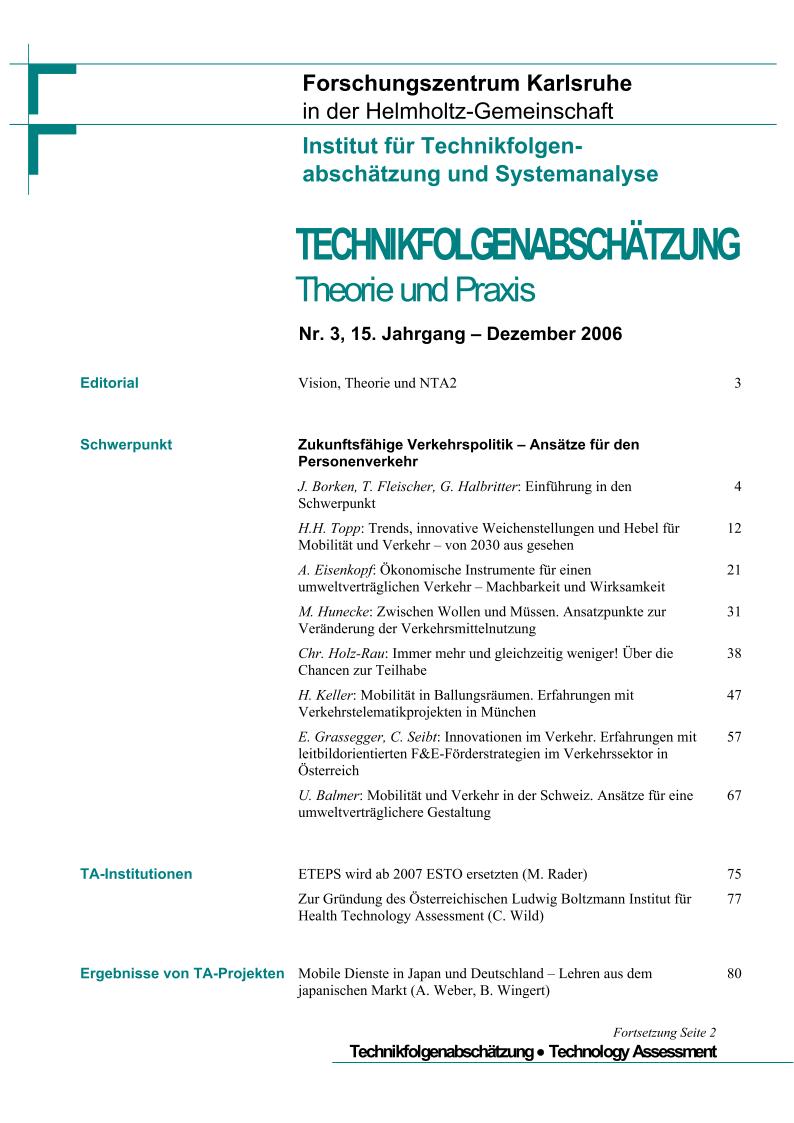 View Vol. 15 No. 3 (2006): Zukunftsfähige Verkehrspolitik – Ansätze für den Personenverkehr