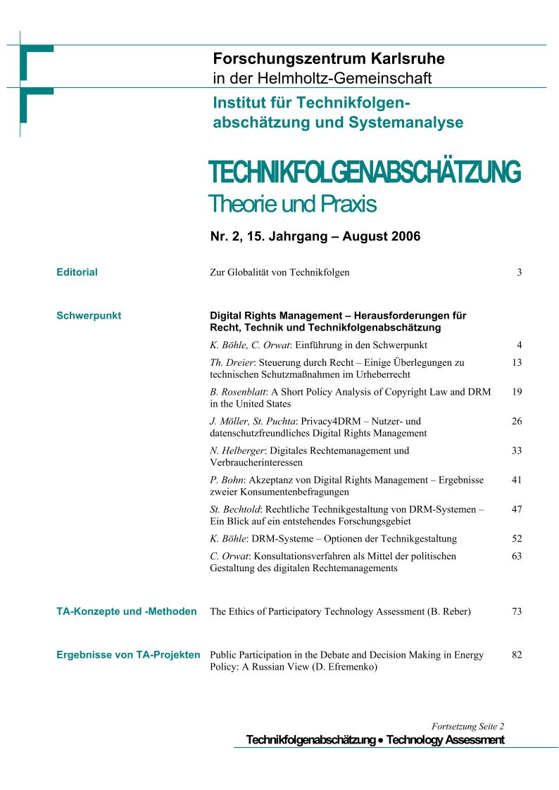 View Vol. 15 No. 2 (2006): Digital Rights Management