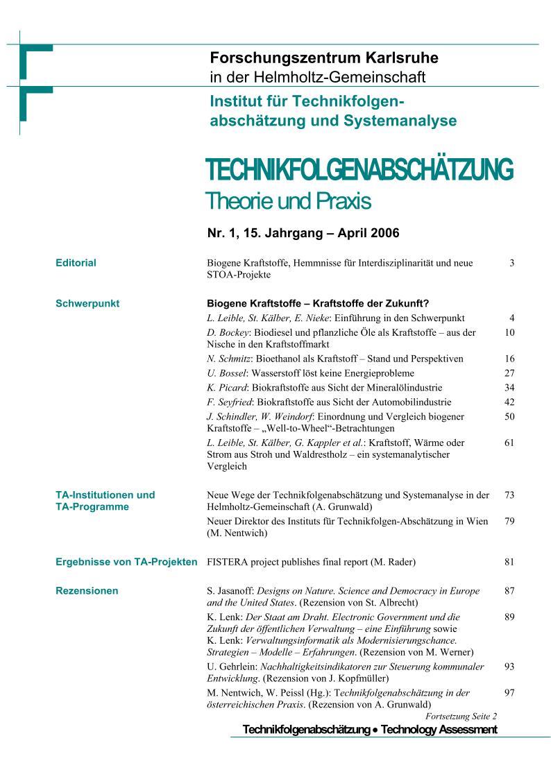 View Vol. 15 No. 1 (2006): Biogene Kraftstoffe – Kraftstoffe der Zukunft?