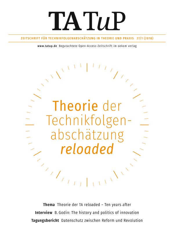 View Vol. 27 No. 1 (2018): Theory of technology assessment reloaded