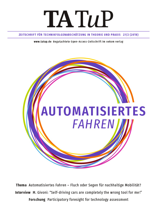 View Vol. 27 No. 2 (2018): Automated Driving - Curse or blessing for sustainable mobility?