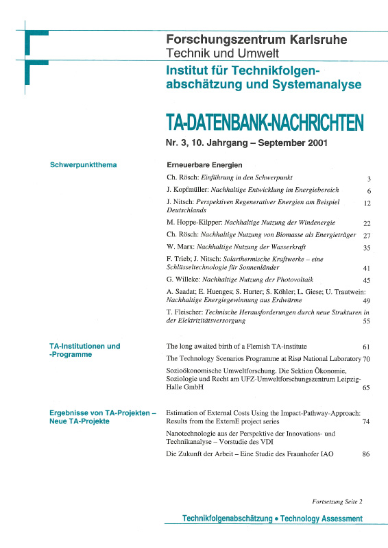 View Vol. 10 No. 3 (2001): Erneuerbare Energien