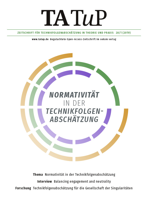 View Vol. 28 No. 1 (2019): Normativity in Technology Assessment