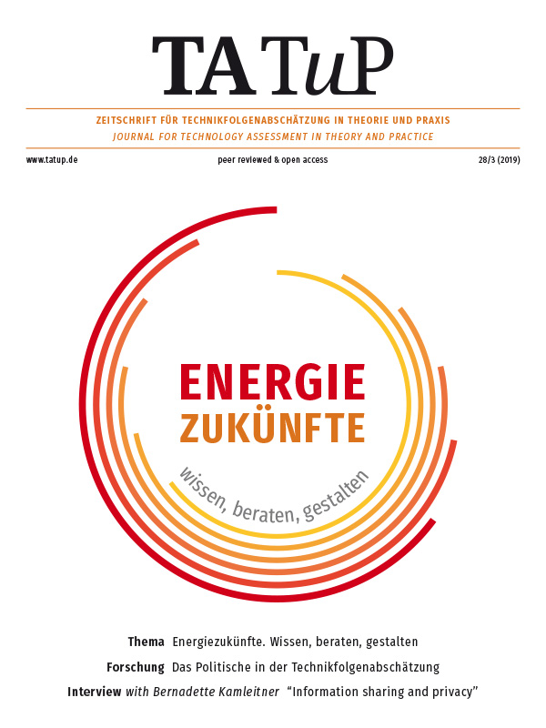 View Vol. 28 No. 3 (2019): Energy futures. Knowing, advising, and shaping